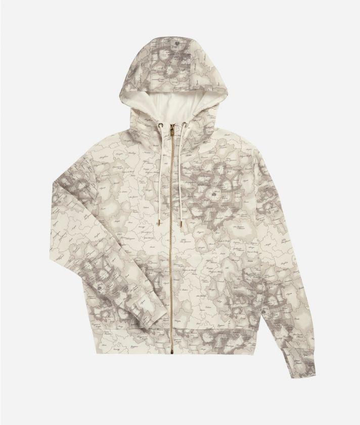 Hooded sweatshirt Geo Map Milano print White