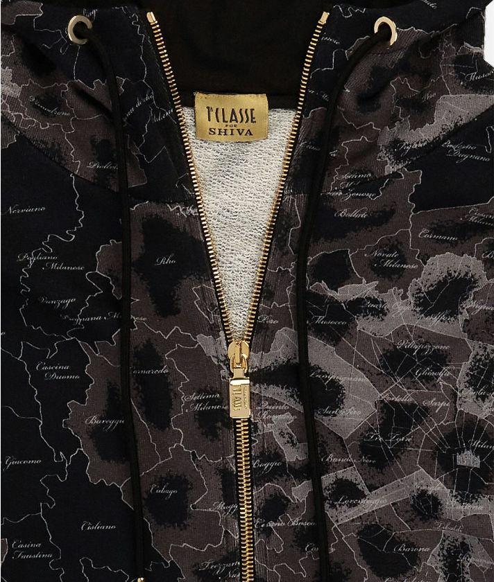 Hooded sweatshirt Geo Map Milano print Black