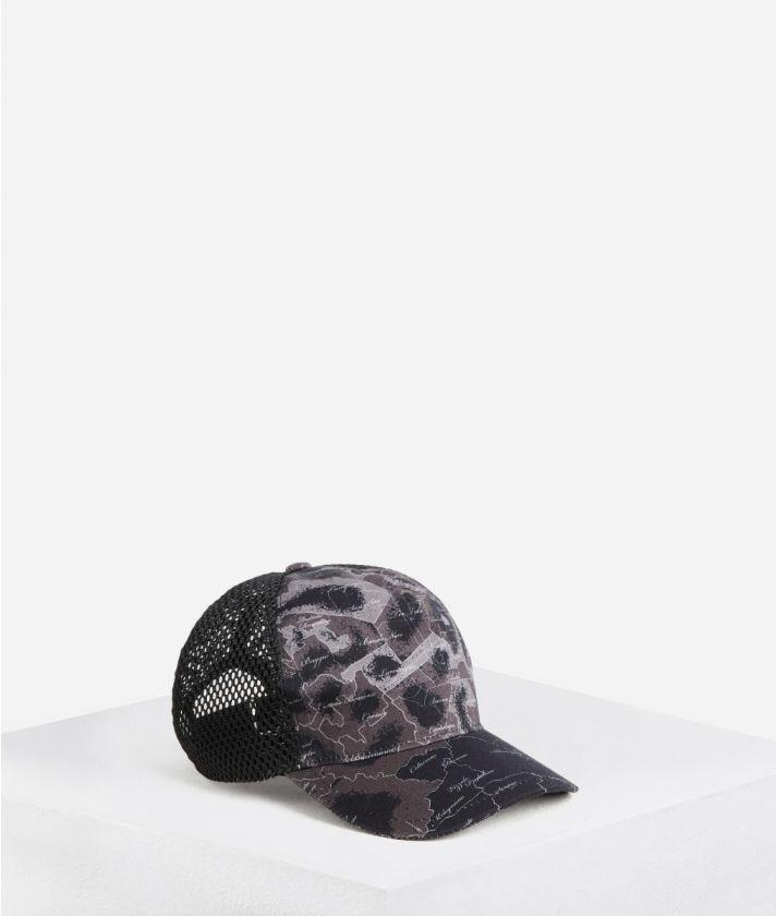 Cappello da baseball in cotone stampa Geo Map Milano Nero