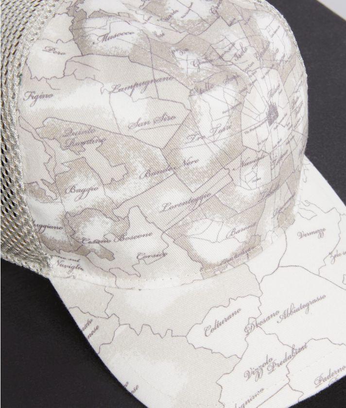 Cotton baseball hat Geo Map Milano print White