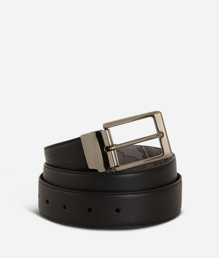 Men's belt leather grey,front
