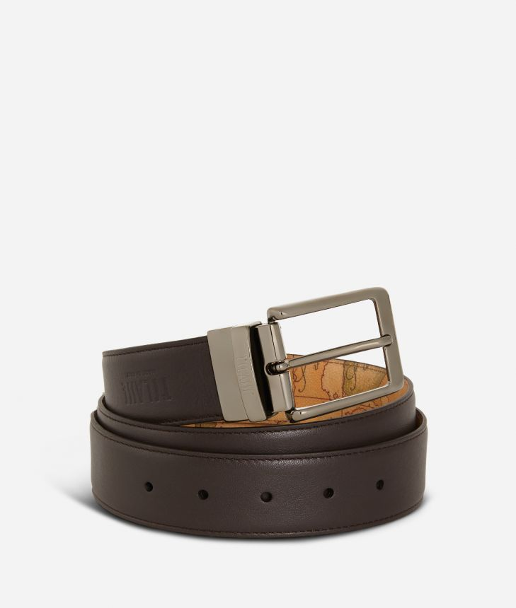 Men's reversible belt leather brown,front