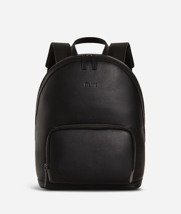 Backpack leather black,front