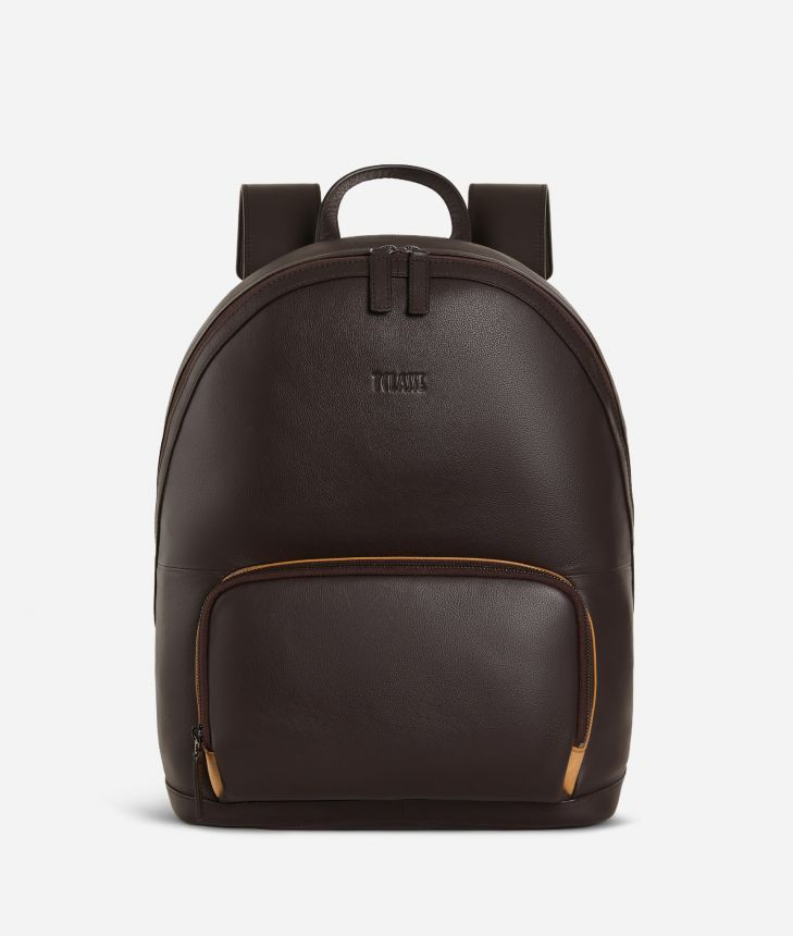 Backpack leather brown,front