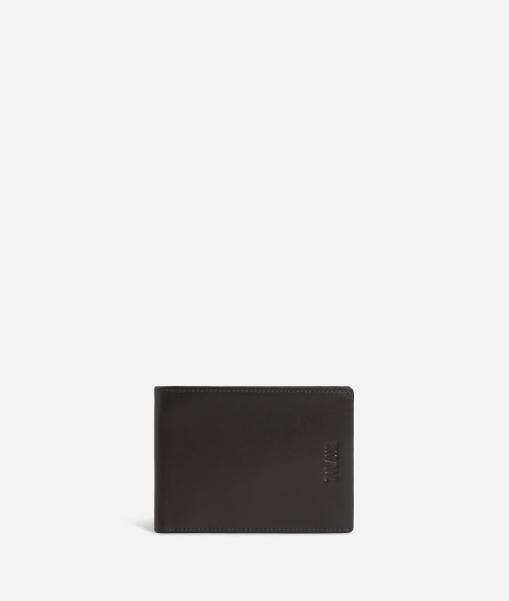 Medium leather wallet Geo Classic fabric trims,front