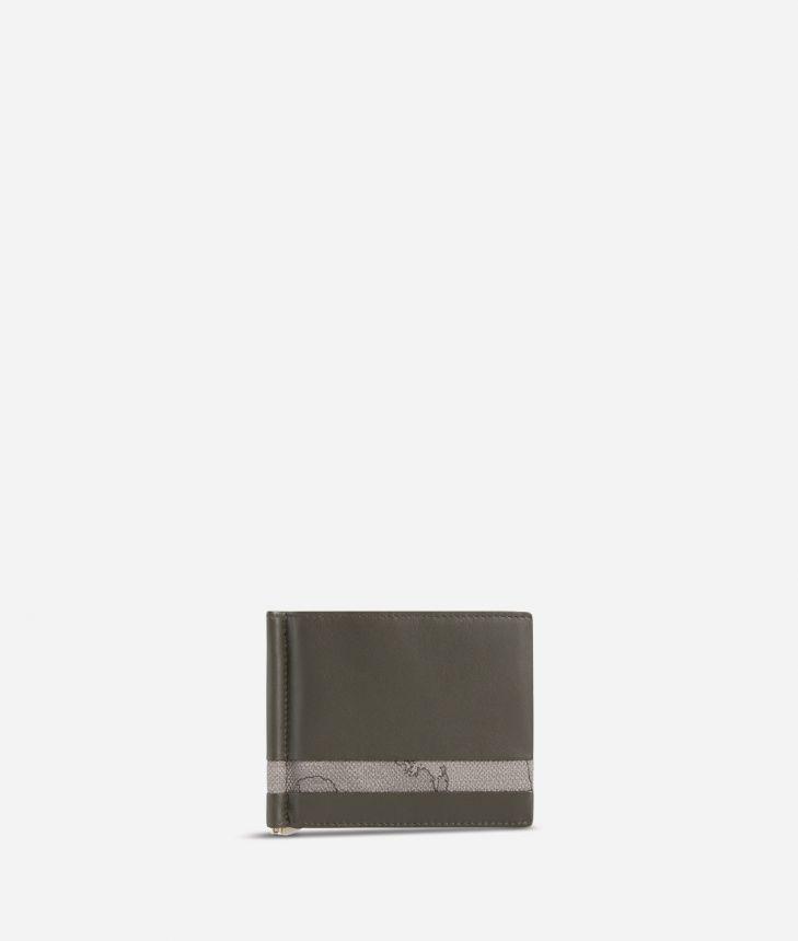 Small billfold wallet Geo Dark fabric trims,front