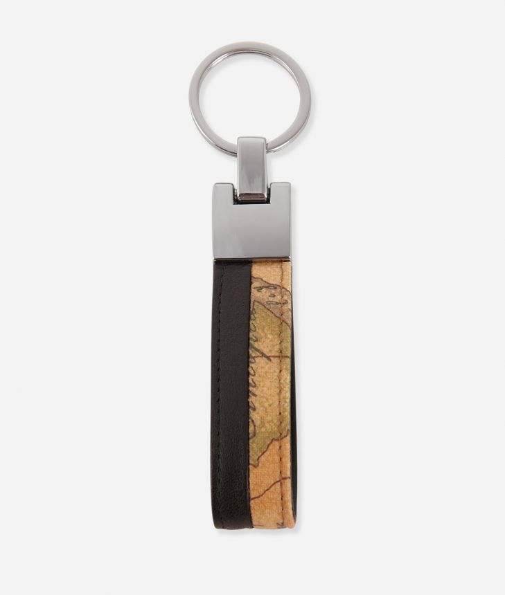 Geo Classic keychain in leather with ring black,front