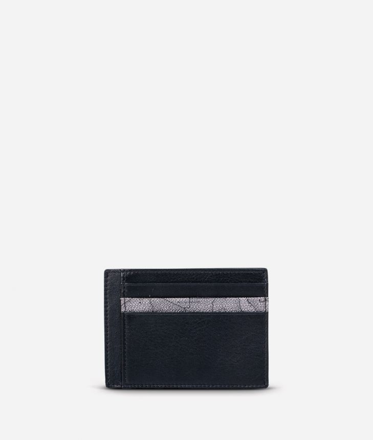 Small leather card holder Geo Dark fabric trims,front