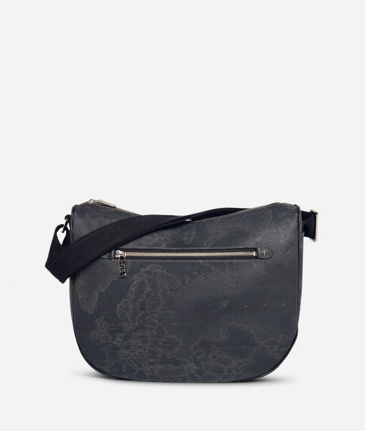 Geo Black Medium half-moon handbag,front