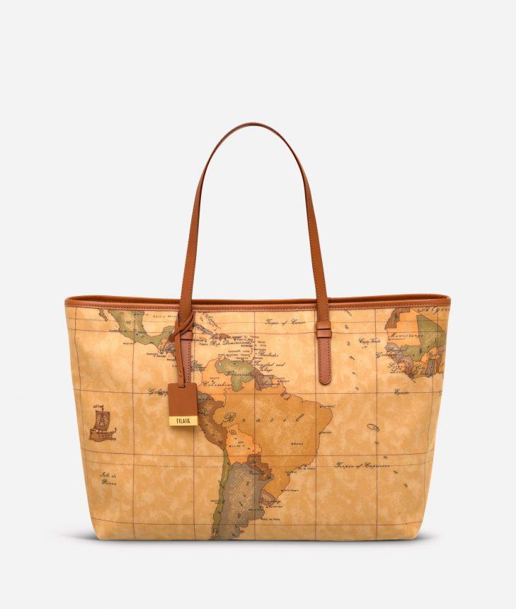 Geo Classic Zipped maxi shopping bag,front