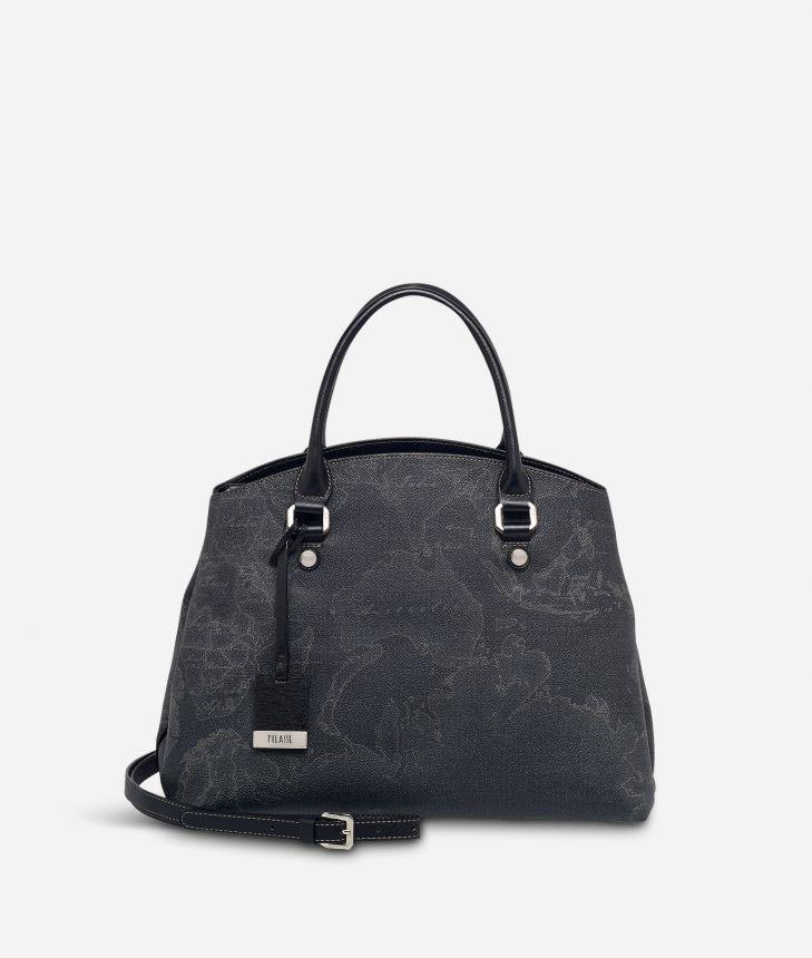 Geo Black Medium bag with strap,front