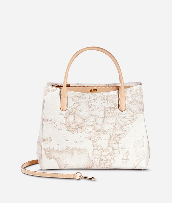 Geo White  Small handbag with strap,front