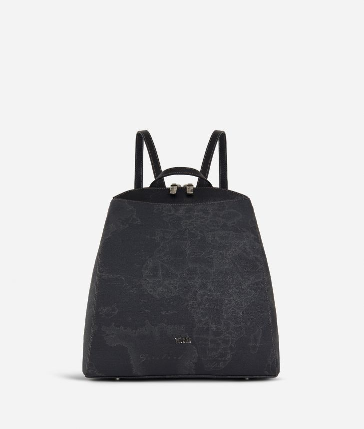 Geo Black Ziparound Backpack,front