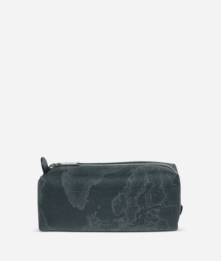 Geo Black Zipped envelope pouch,front