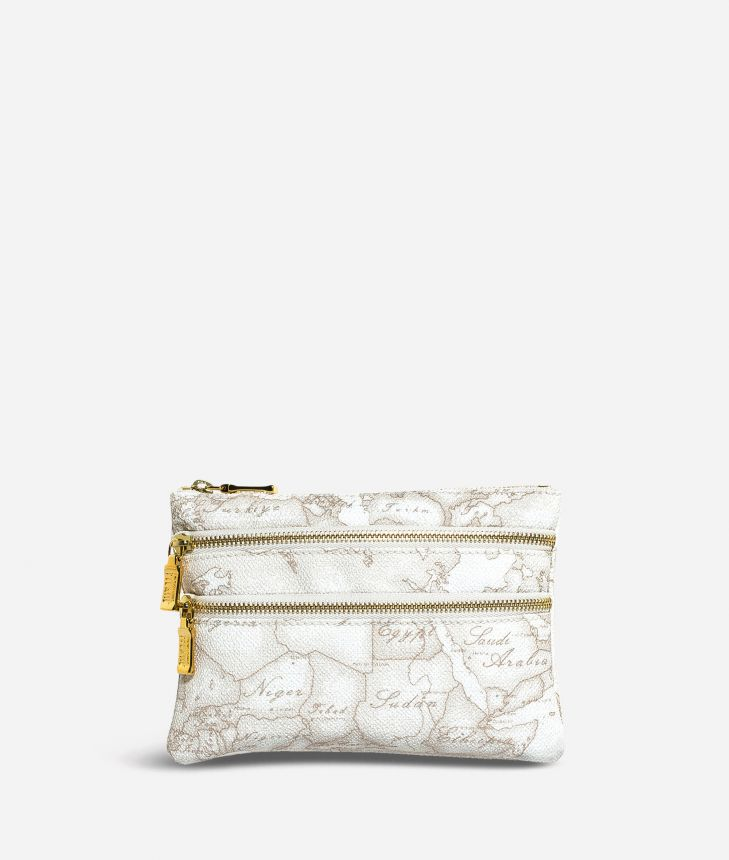 Geo White Medium pouch with pockets,front