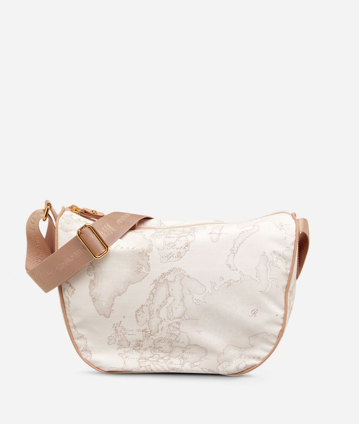 Geo Soft White Small half-moon handbag,front
