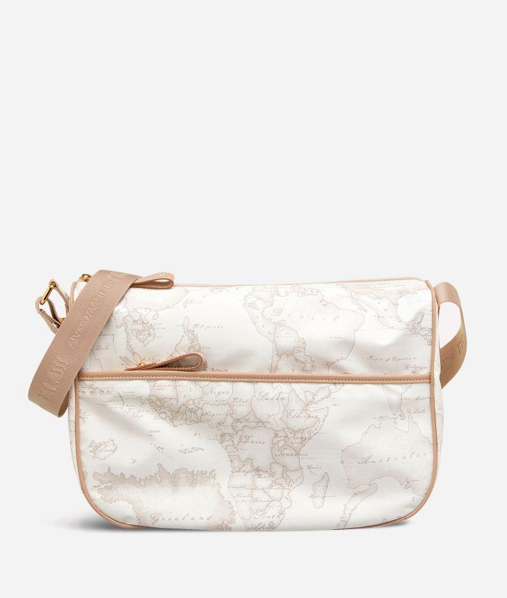 Geo Soft White Medium crossbody bag,front