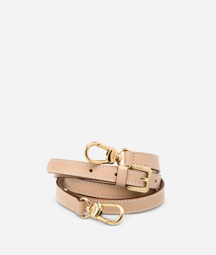 Adjustable strap in neutral-tone leather,front