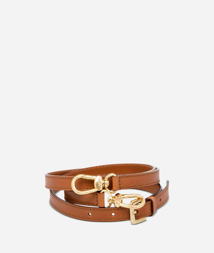 Adjustable strap in tan leather,front