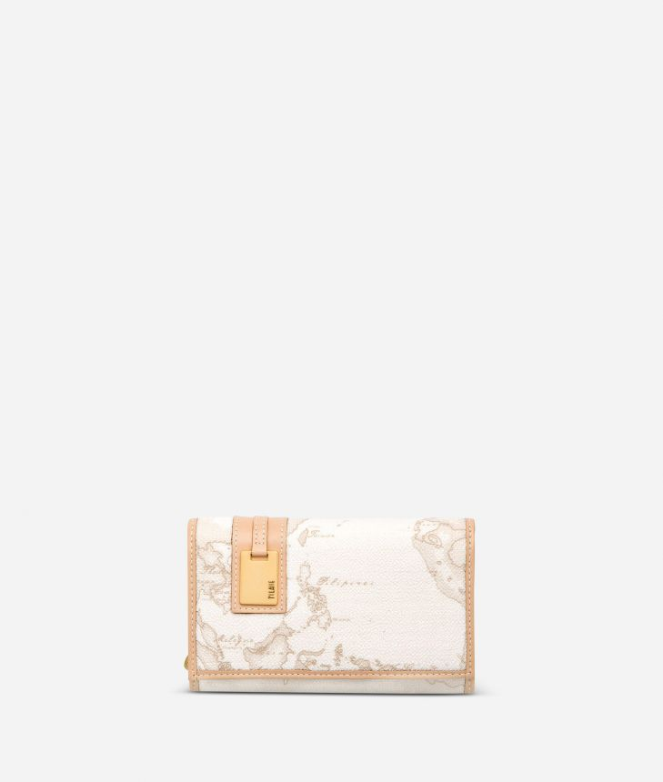 Geo White Medium wallet with pocket,front