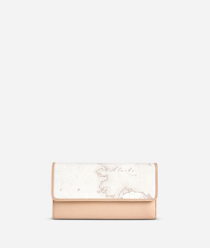 Geo White Large wallet with pocket,front