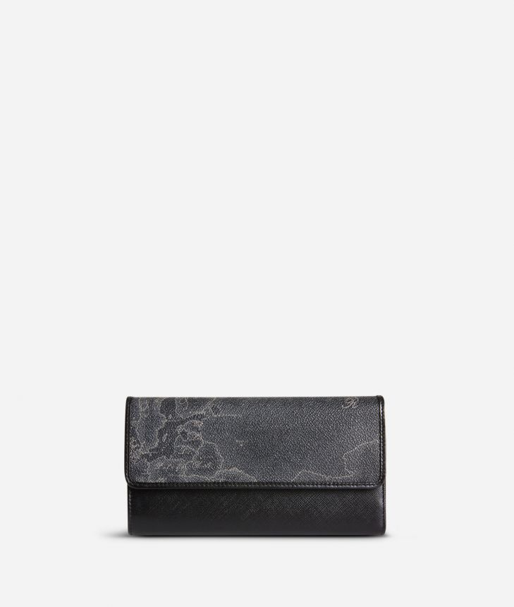 Geo Black Large wallet with pocket,front