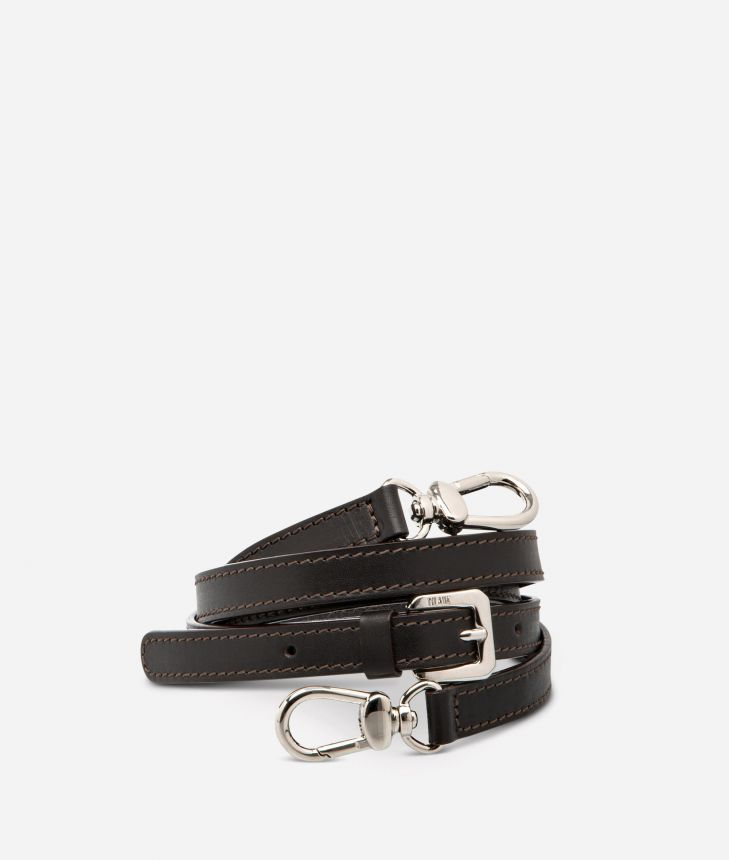 Adjustable strap in brown leather,front