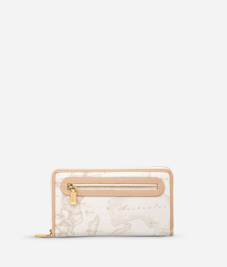 Geo White Large wallet with zip pocket,front