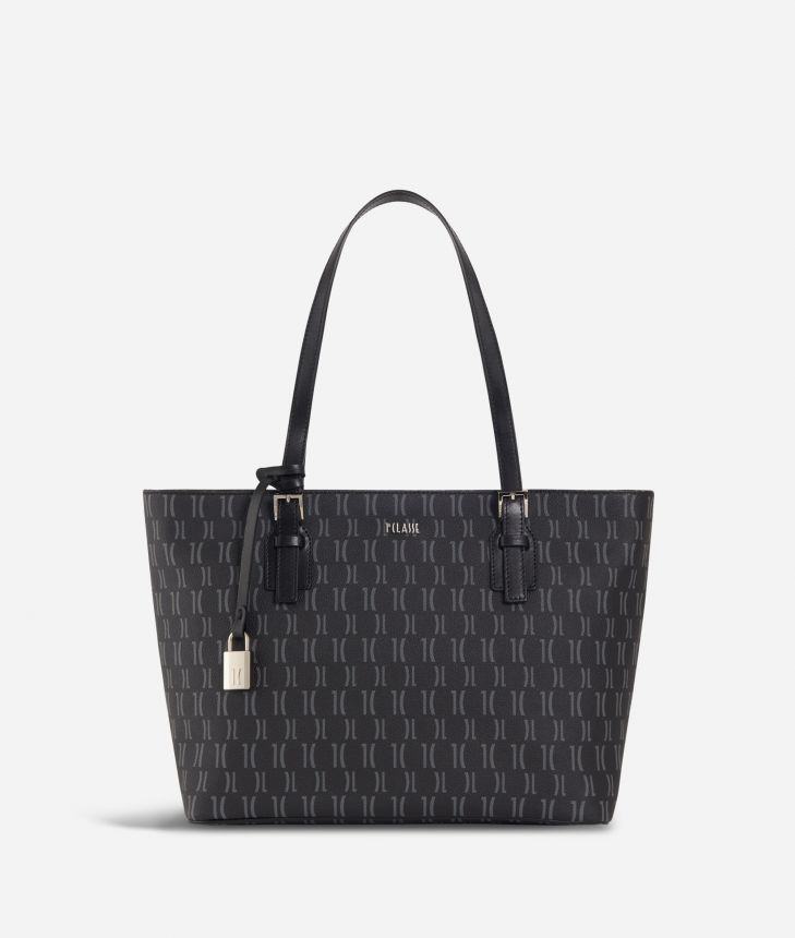 Monogram Medium Shopping Bag Black,front