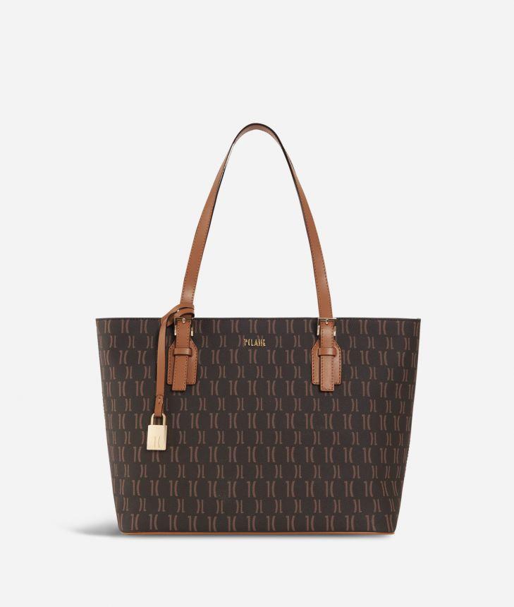 Monogram Medium Shopping Bag Dark Buff,front