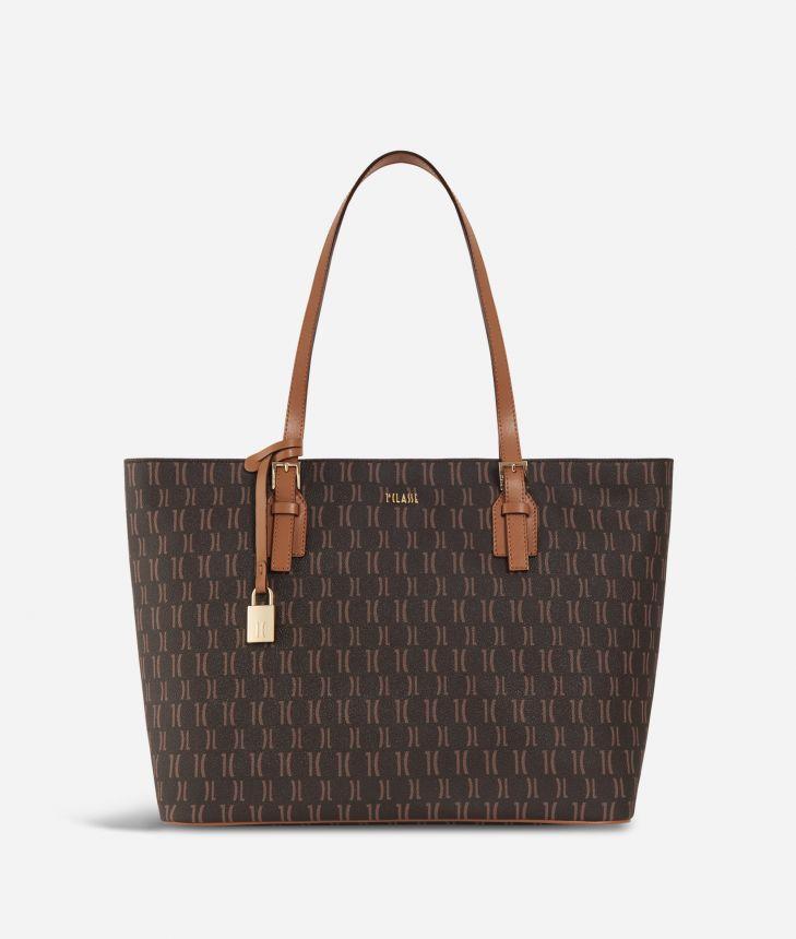 Monogram Big Shopping Bag Dark Buff,front