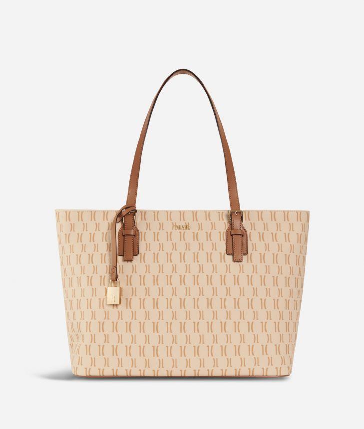 Monogram Big Shopping Bag Cream,front