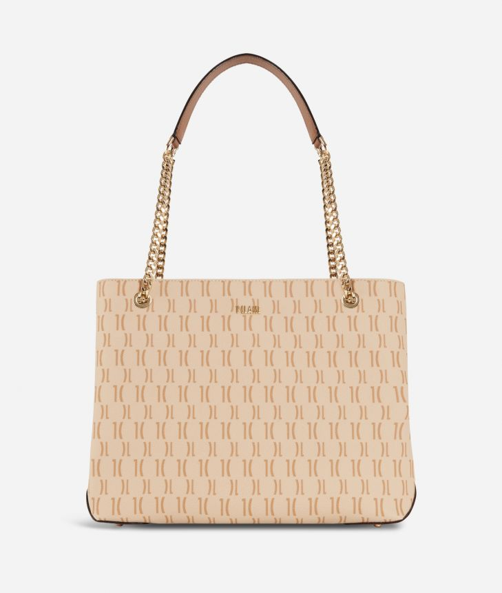 Monogram Shoulder bag with chain Cream,front