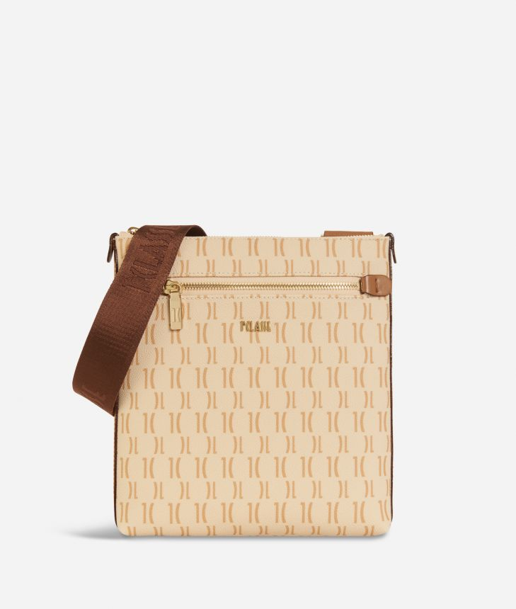 Monogram Flat Crossbody Bag Cream,front