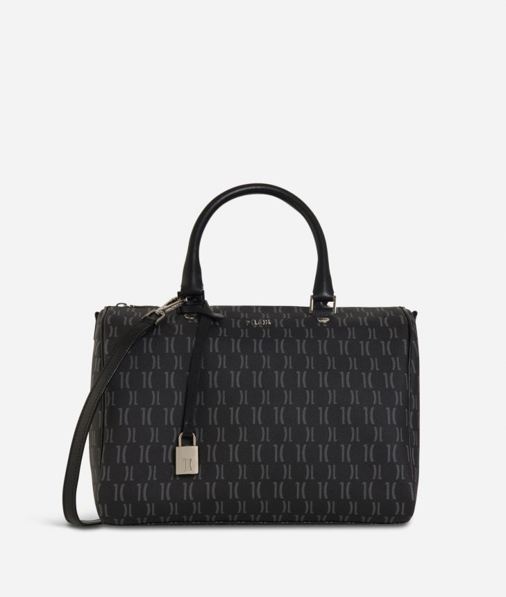 Monogram Satchel Bag Black,front