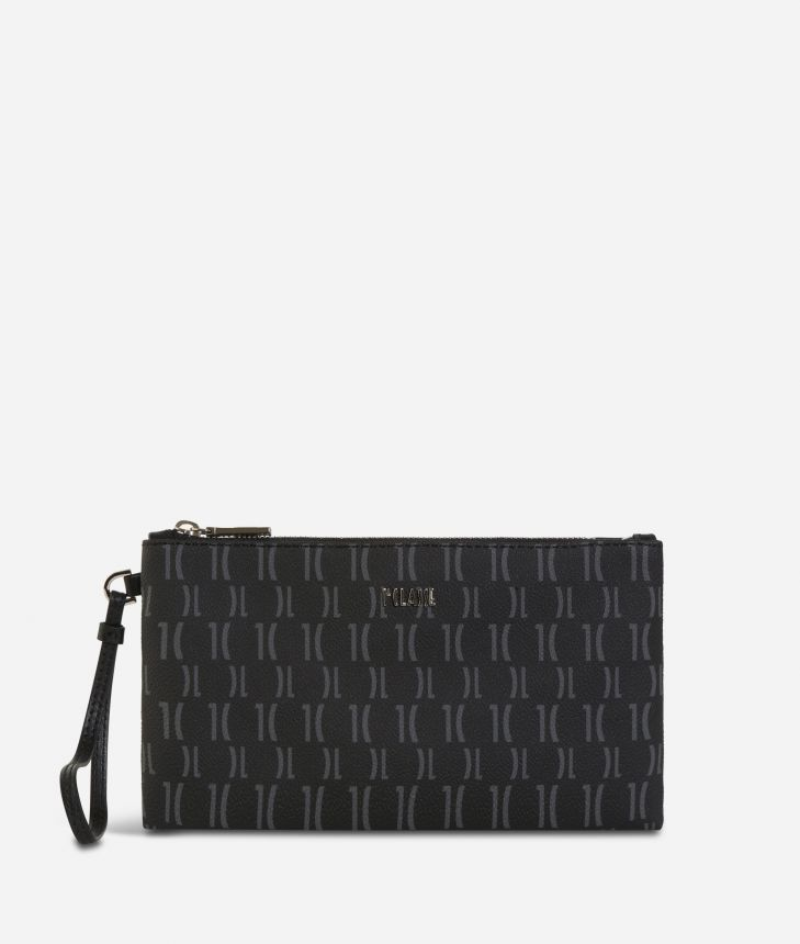 Monogram Clutch with wristband Black,front