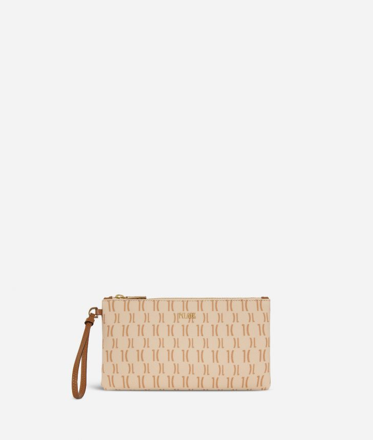 Monogram Clutch with wristband Beige,front