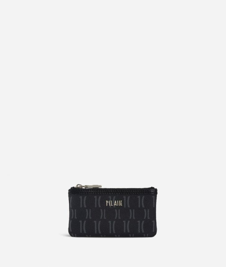 Monogram Small pouch with keyring Black,front