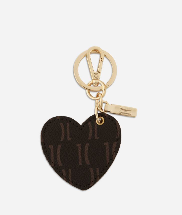 Monogram Heart-shaped Keyring Dark Buff,front