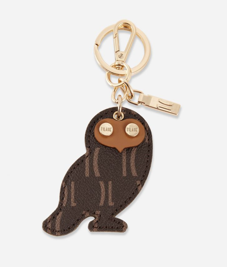 Monogram Owl-shaped keyring,front