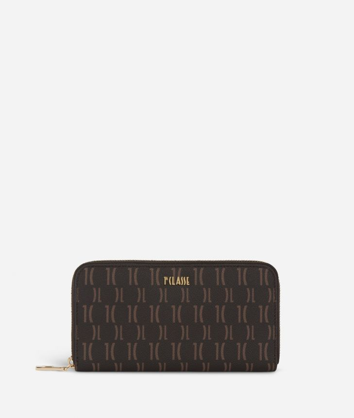 Monogram Zip-around Wallet Dark Buff,front