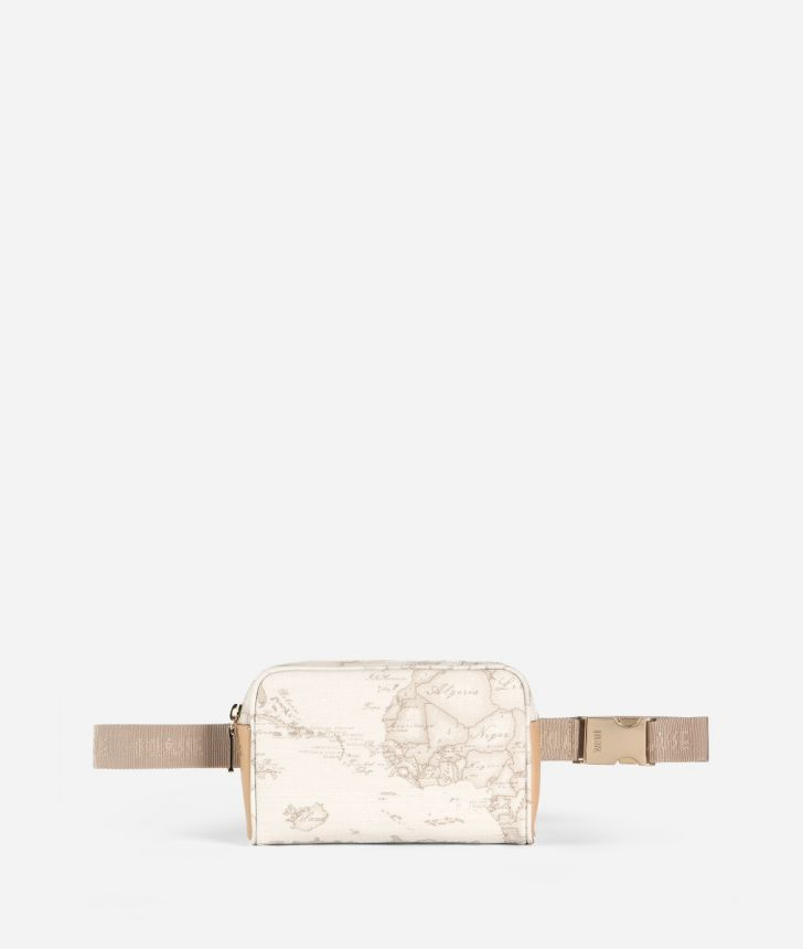 Geo White Belt bag with fabric strap,front