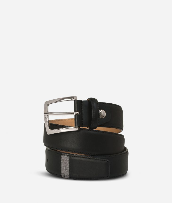 Leather belt trimmed in Geo Dark fabric,front