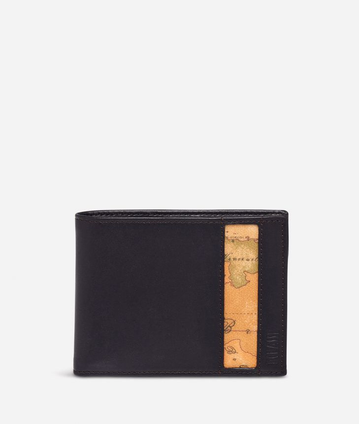Small leather wallet Geo Classic fabric trims,front