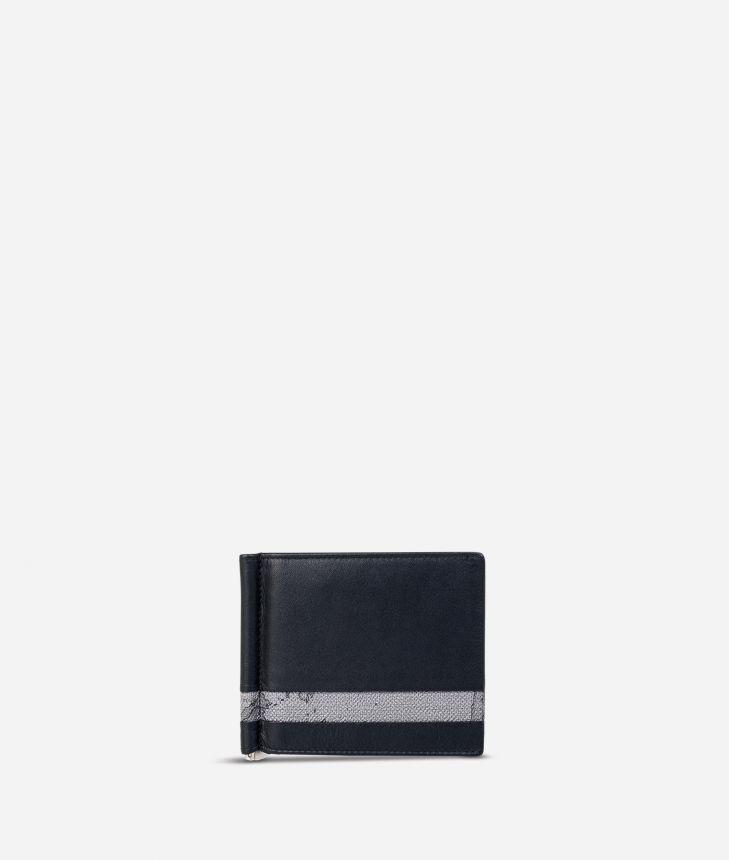 Billfold wallet Geo Dark fabric trims,front