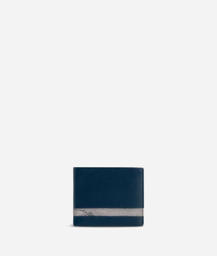 Medium leather wallet Geo Dark fabric trims,front