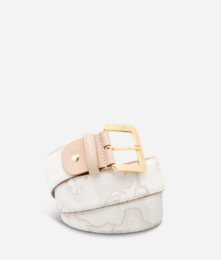 Geo White Cintura con fibbia metallica,front