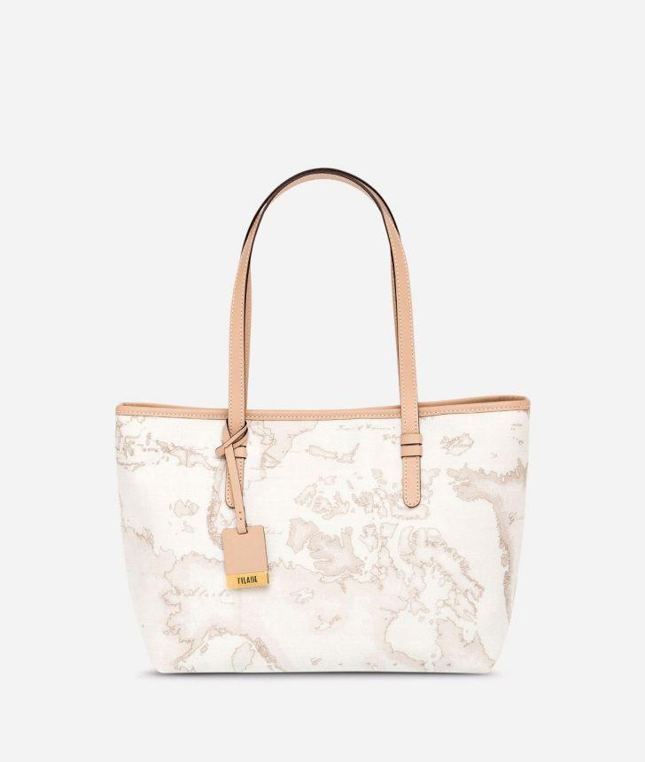 Geo White Medium shopping bag,front