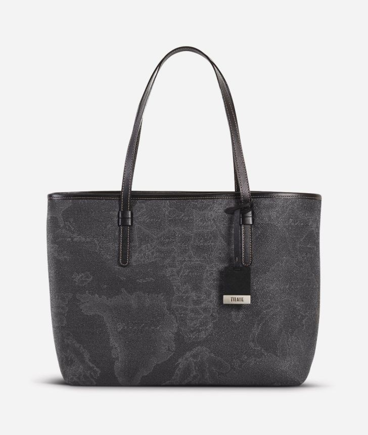 Geo Black Large shopping bag,front