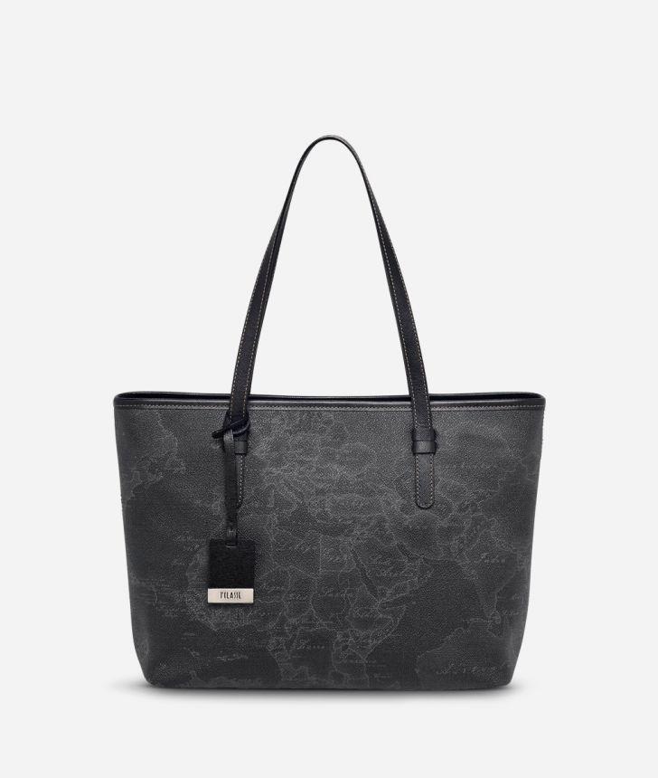 Geo Black Medium shopping bag,front
